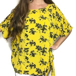 MICHAEL KORS (2/$20) Yellow Floral Tie Top